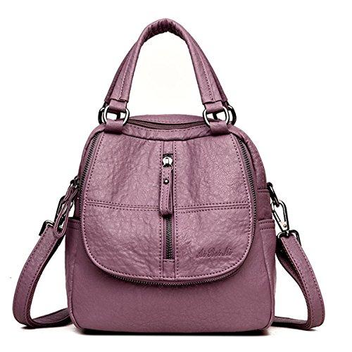Fashion Backpack, JOSEKO Women High-end Multifunction Soft PU Leather Handbag Double Layer Large Capacity Backpack Purple