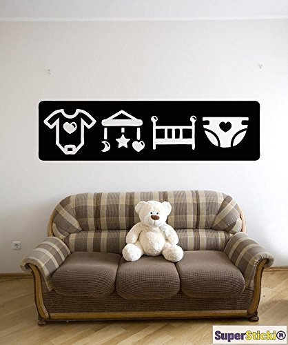 SUPERSTICKI Baby Strampler Mobile Windeln Kinderzimmer Wandtattoo ca 40 x 80 cm Hobby Deko