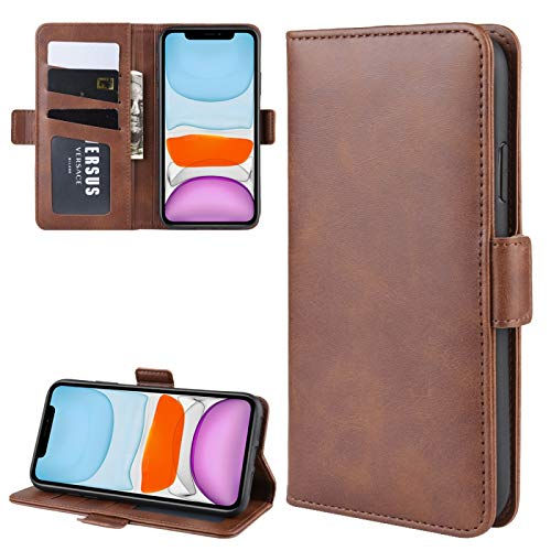 Dmtrab para Para iPhone 11 Doble Hebilla Crazy Horse Business Funda Móvil con Tarjeta Función Soporte de Billetera (Color : Brown)