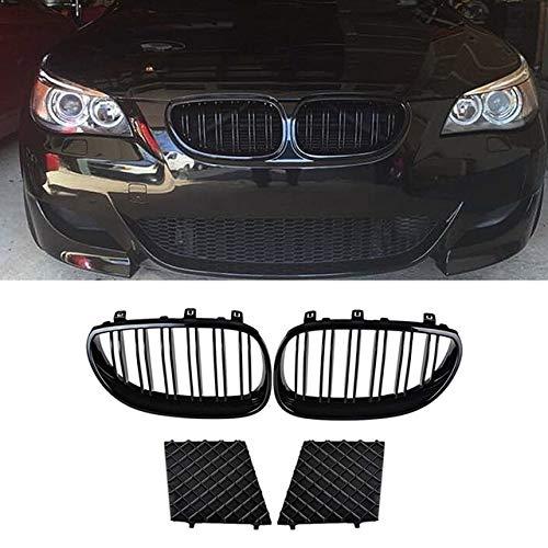 Griglia fendinebbia Racing Grille, anteriore sinistro e destro rene griglia doppia linea+paraurti inferiore Grill Covers Fit per BMW E60 E61 5Series M Sport 2003-2010 nero (colore : Nero)
