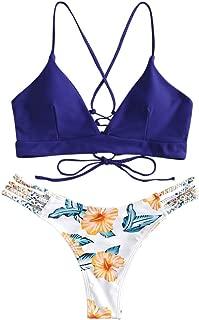 ZAFUL Costume da Bagno da Donna Imbottito Set Bikini Taglio Alto Estivo Solido con Top Puro Bianco e Fondo Stampato Beachwear