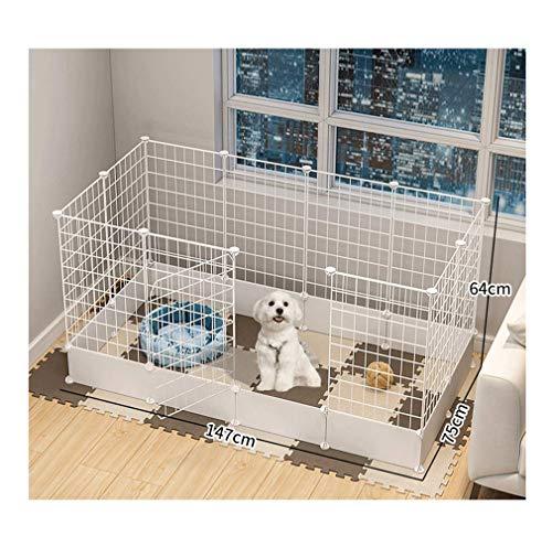 GBY Haustierzaun, Haustierzaun mit Tür, leicht zu entfernendes Metall-Isolationsgeländer für Haustiere, geeignet für den Innenbereich, für kleine Hunde und Katzen, weiß, 147 * 75 * 64 cm