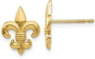 14k Yellow Gold Fleur De Lis Post Stud Earrings Fine Jewelry Gifts For Women For Her
