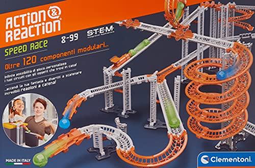 Clementoni- Azione & Reazione-Speed Race, Set di Costruzioni, Pista biglie per Bambini, Marble Run, Gioco scientifico 8 Anni+, Made in Italy, Multicol