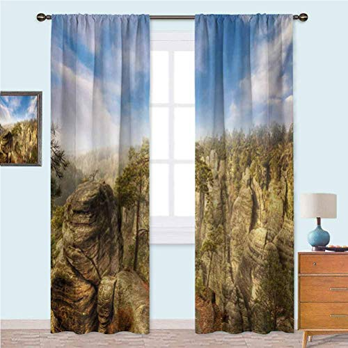 Aishare Store Blackout Window Curtain Wonders of The World National Park Rock Formation Czech Image Window Curtains for Living Room 95 Inches Long Sky Blue Tan Cream Olive Green