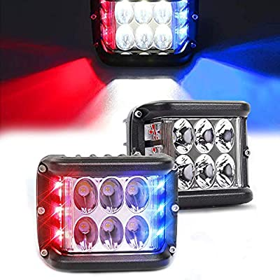 2 PCS Dual Side Shooter Dual Color Strobe Lights, 45W Super Bright Side Shooter LED Lights with Strobe Dual, LED Lights Off Road Flood and Spot for Jeep Truck SUV ATV UTV (Red Blue)