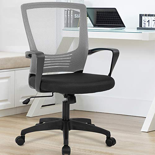 Office Chair Ergonomic Desk Chair Swivel Rolling Computer Chair Executive Lumbar Support Task Mesh Chair Metal Base for Home&Office (Grey)