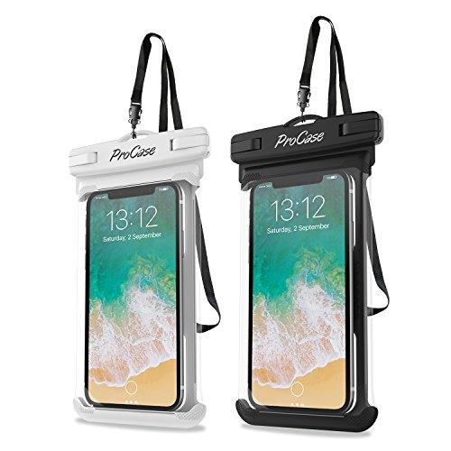 "ProCase 2 Fundas Impermeables para Celulares como iPhone 12 Mini/Pro/Pro Max/SE 2020/X/8 7 Plus/6S/6/6S Plus,Galaxy S20/S20+/S20 Ultra 5G/S9/S8 Plus/Note, Huawei Xiaomi Móviles hasta 6.9""-Blanco+Negro"