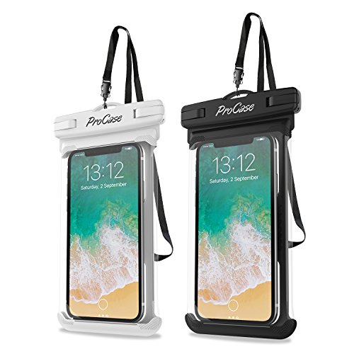[2 Pack] ProCase Waterproof Phone Case Dry Bag Pouch, for iPhone SE, 11 Pro Max, Xs Max, XR, X, 8,7 Plus, 6S Plus, Galaxy S20 Ultra S10 Plus S9 S8 / Note10 9 8 6 5, Pixel 4 XL 3 2 -White/Black