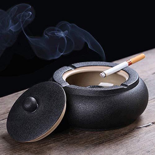 A prueba de viento del cigarrillo Cenicero con tapa, Cerámica Vintage Tabaco Cenicero for cigarrillos Collect Butts, bandeja de ceniza de escritorio for uso en interiores al aire libre, mesa de ceniza
