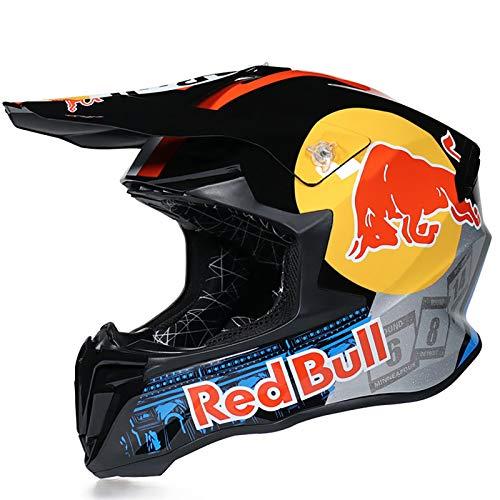 Motocross Helm Fullface Helm,Motorradhelm Fahrradhelm ABS DOT/ECE-Zertifizierung Four Seasons Large Rally Helm Mountainbike DH Downhill Helm Brillenhandschuhe Red Bull A,S