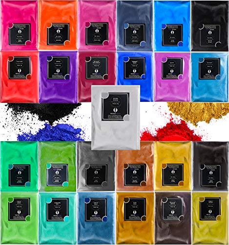 Epoxidharz Farbe Metallic Farben 25er×10g, TECHAROOZ Mica Powder Pulver, Epoxy Resin Farbe, Pigment, Farbpigmente Pigmentpulver Farben für Kosmetisches Qualität, Niveau Lipgloss Seifenfarben