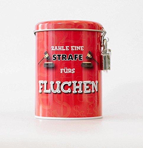 alles-meine.de GmbH Spardose als Strafkasse -  Fluch Kasse  - stabile Sparbüchse aus Metall - incl. 2 Schlüssel - mit Strafe Fluchen Flucher - Männer / Schimpfwörter - Schimpfe..