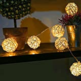 Goodia 20 Rattan Ball LED String Lights 7.2 Feet Length Battery Powered Fairy Lights for Party, Wedding, Garden, Patio, Chrismas Tree, Bedroom, Indoor, Outdoor Decoration(Warm White)