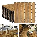 NAIZY Akazien-Holz Terrassenfliesen 30 x 30 cm Holzoptik Balkonfliesen mit Drainag und Klick-Fliesen für Garten Terrasse Balkon (Model A, Größe: 22 Stück | 2m²)