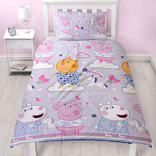 Official Peppa Pig Sleepy Design Single Reversible Two Sided Official Purple Peppa Sleepover Bedding Duvet Cover with Matching Pillow Case,PP1SEYDS004UK1,Multicolour