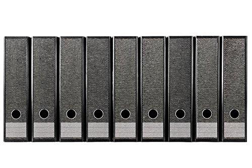 codiarts. Set 9 Stück breite Ordner-Etiketten - Stoff/Gewebe grau Weiss meliert - selbstklebend (Ordnerrücken Aufkleber Sticker)