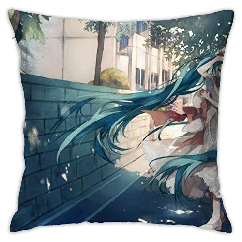 KINGAM Anime Girl Hatsune Miku Throw Fundas de almohada 45,7 x 45,7 cm, funda de almohada moderna, funda de cojín cuadrada, decoración