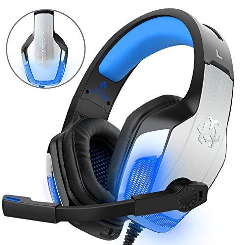Gaming Headset für PS4 Xbox One PC Controller, DIZA100 V4 Gaming Kopfhörer mit Aluminiumgehäuse, Mikrofon, LED Light Bass Surround für Computer Laptop Mac Nintendo Switch Spiele-Blau