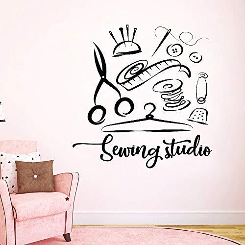 Naai studio muurstickers studio woondecoratie vinyl muurstickers op maat raamdecoratie verwijderbare stickers <> 50x51cm