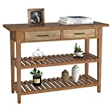 """HOMECHO Rustic Console Table with Drawers, Farmhouse Hallway Entryway Table with Storage, Accent Sofa Table with 2 Shelves for Living Room, 43.2"""" Retro Brown"""