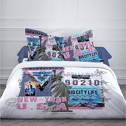 TODAY Housse de Couette 2 taies d'oreiller 63x63-US Legend, 100% Coton, Multicolore, 220X240