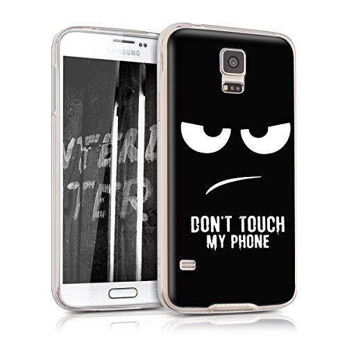 kwmobile Cover Compatibile con Samsung Galaxy S5 / S5 Neo - Back Case Custodia in Silicone TPU Trasparente Don't Touch My Phone Bianco/Nero