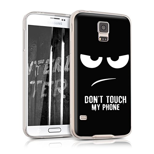 kwmobile Samsung Galaxy S5 / S5 Neo Hülle - Handyhülle für Samsung Galaxy S5 / S5 Neo - Handy Case in Don't Touch My Phone Design Weiß Schwarz