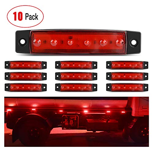 Nilight 10PCS 3.8 Inch 6 LED Red Side Marker Light Indicator Light Rear side...