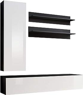 Conjunto Muebles de salón Colgantes Nora Negro Blanco Modelo H1
