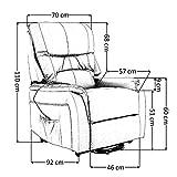 colourliving Fernsehsessel mit Aufstehhilfe elektrisch Relaxsessel mit 2 Motoren aus Mikrofaser in Hellbraun - 9