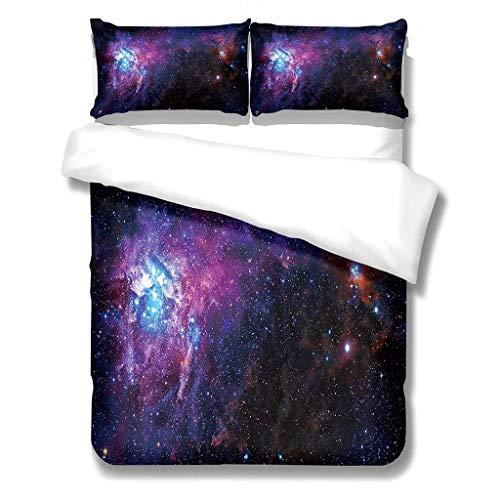 Funda Edredón Espacio Exterior 3D Juego de Cama Cielo Estrellado Sueño Vistoso Patrón de Nebulosa Azul Negro Púrpura Ropa de Cama Funda de Almohada Colcha (Color 3, 180_x_220_cm Cama 90 cm)
