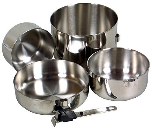 Relags Biwak Lot de 3 casseroles en acier inoxydable Argenté Taille unique