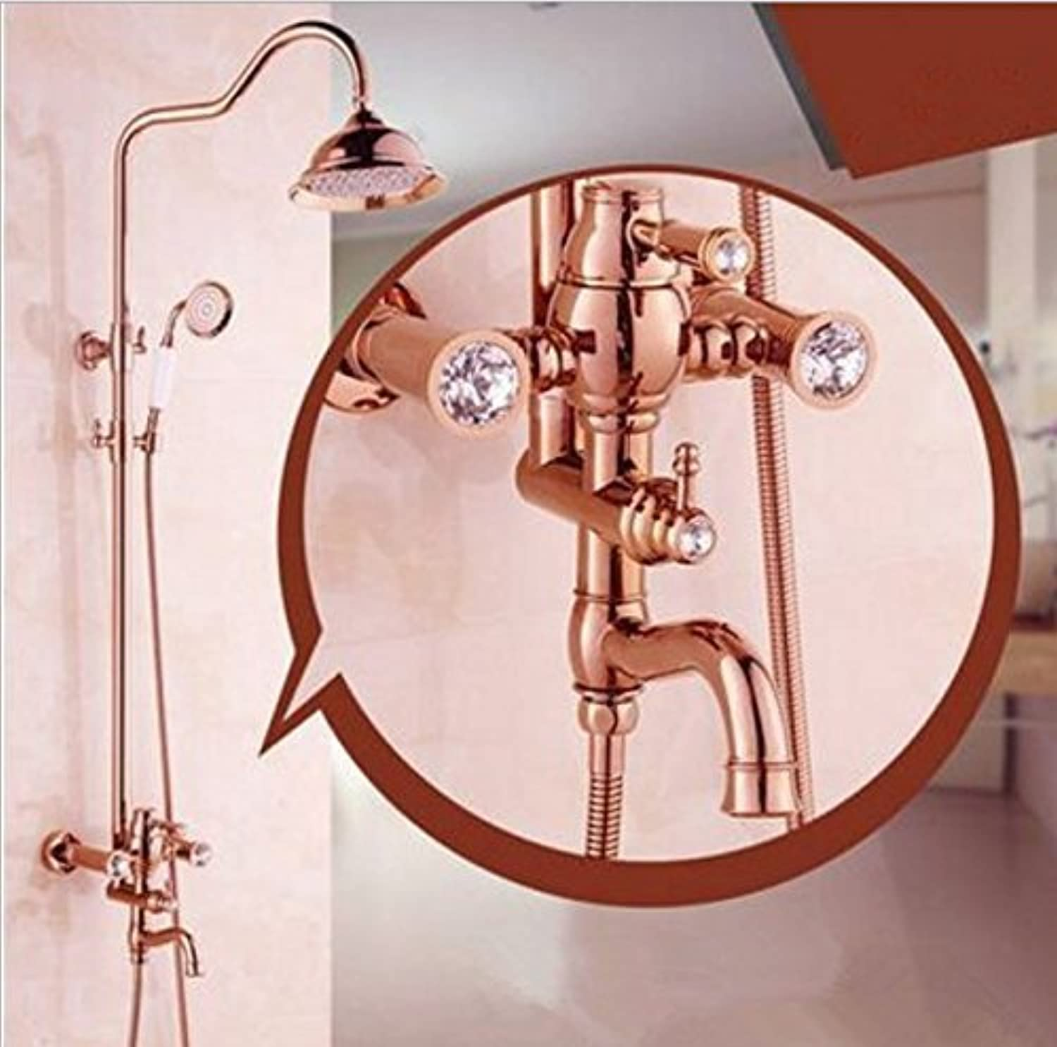 Party Girls S Shower Mixer, Home Bathroom Bath all copper cold and hot water European pink gold shower sprinkler suit Lift