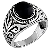 Bishilin 925 Sterling Silber Ring Oval Schwarz Opal Vintage Filigran Herren Ringe Punk Freundschaftsring Gr.60 (19.1)