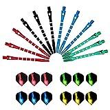 LxwSin Alberi per Freccette in Alluminio, Alberi di Dardo e Voli, 12 Set di Aste per Freccette Medie, Steli per Freccette Universali in Metallo e Voli Accessori per Freccette Assortiti Filettatura 2BA