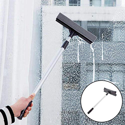 Leiyini Aluminum Rod Window Cleaner Household Microfiber Brush Head Double-Sided Wiper Window Cleaning Tool Window Cleaning Kit All-in-One Best for Home Clean