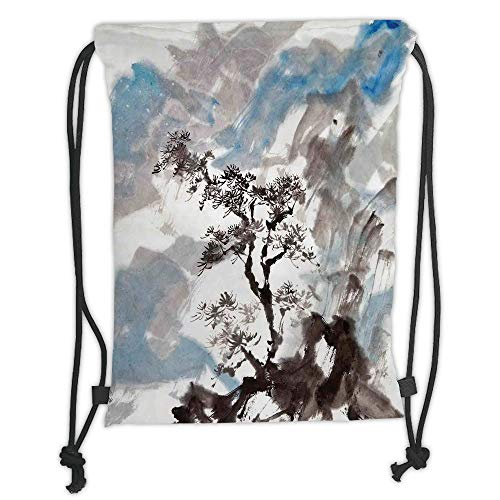 Fevthmii Drawstring Backpacks Bags,Japanese,Hazy Artistic Depiction of Pine Tree Landscape on Hill Mountain with Rough Blasts,Blue Grey Soft Satin,5 Liter Capacity,Adjustable String Closure