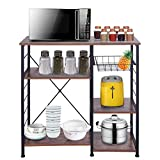 3-Tier Kitchen Baker's Rack with Wire Basket, Multipurpose Kitchen Workstation Shelf Iron Frame Microwave Oven Stand Utility Storage Shelving Cart for Spices, Coffee Maker, Pots and Pans (Vintage)