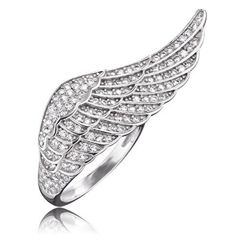 Engelsrufer Damen-Ring Where The Angels Fly Flügelring 925 Silber rhodiniert Zirkonia weiß Ringgröße verstellbar-ERR-WING-01-ZI