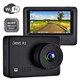 Rove R1 WiFi Dash Cam 1080P FHD Built in Sony CMOS Sensor Car Driving Recorder 2.45' LCD Display 150° Wide Angle, WDR, Parking Monitor, Loop Recording, Motion Detection, G-Sensor, 128GB SD Slot
