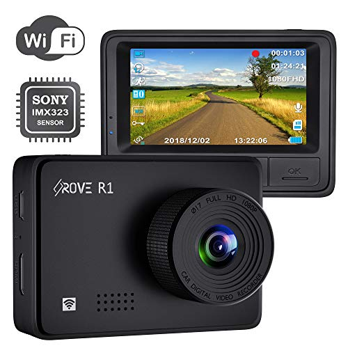 "Rove R1 WiFi Dash Cam 1080P FHD Built in Sony CMOS Sensor Car Driving Recorder 2.45"" LCD Display 150° Wide Angle, WDR, Parking Monitor, Loop Recording, Motion Detection, G-Sensor, 128GB SD Slot"
