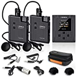 UHF Lavalier Mikrofon Wireless,Comica BoomX-U U2 32 Kanäle Revers Micro mit 2 Sendern & 1 Empfänger für Kamera/SmartphoneundInterview/YouTube Facebook Live(2TX+1RX)