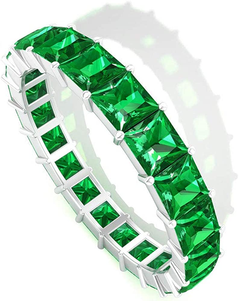 2.73 CT Emerald Band Full Ring Stackable Eternity Gold Finally resale service start 3