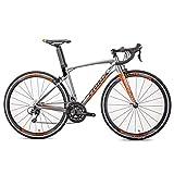 DJYD Adult Rennrad, 22 Speed-Ultra-Light Aluminium-Straßen-Fahrrad, Carbon-Faser-Gabel, Sport Hybrid Rennrad, 700C Rad, Silber FDWFN (Color : Silver)