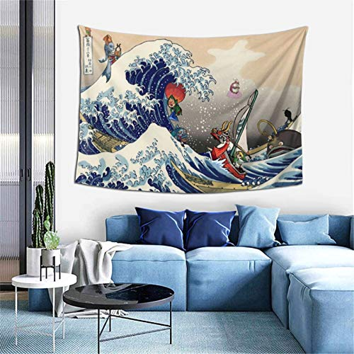 EOUNMSU Legend of Zel-da Wind Waker Great Wave Soft Durable Tapestry Gift for Family Bedroom Living Room Dorm Bed Cover Blanket Wall Hanging Decoration Tapestries for Apartment Home Art 60X40