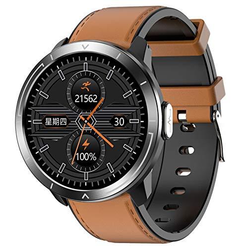 Reloj Inteligente Bluetooth,24 Horas Frecuencia Cardíaca Presión Sanguínea Temperatura Smartwatch Fitness Tracker,ECG Luz Infrarroja Análisis De Oxígeno En Sangre Reloj Deportivo N-Marrón Plateado