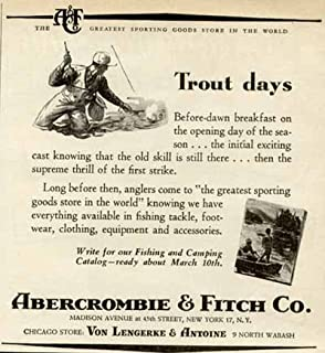 Trout Days Catalog Offer in 1951 Abercrombie & Fitch AD Original Paper Ephemera Authentic Vintage Print Magazine Ad/Article