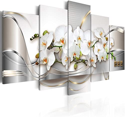 5 Panel Butterfly Orchid Flowers Canvas Print Wall Art Painting Decor for Home Decoration Picture product image
