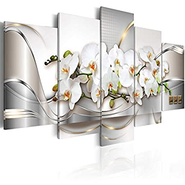 5 Panel Butterfly Orchid Flowers Canvas Print Wall Art Painting Decor for Home Decoration Picture for Bedroom Framed Ready to Hang White Floral Artwork (40 x20 , Ocean of Innocence)